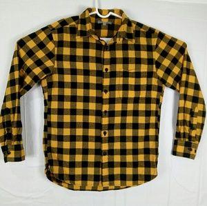 Uni Qlo Yellow/Black Plaid M 100% Cotton Shirt